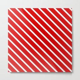 Christmas Red Diagonal Stripes Metal Print