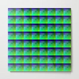 Lime And Deep Blue Checkered Pixel Art Pattern Metal Print
