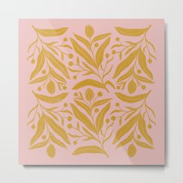 Pink and mustard yellow floral color block art Metal Print