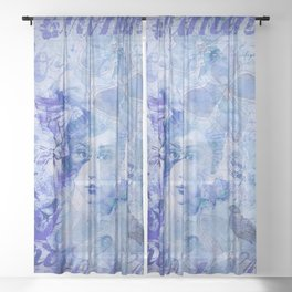 Lost Moments Woman Nostalgic Portrait In Shades Of Blue Sheer Curtain