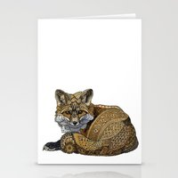 kit king Stationery Cards featuring Fox Kit by ZHField