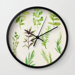 Watercolor Herbs Wall Clock