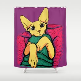 Yellow Cat in a Green Sweater - Sphynx Cat Illustration Shower Curtain