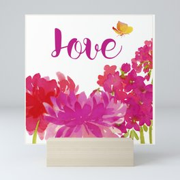 Hot Pink Floral with the word Love Mini Art Print