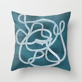 Blue Scribble Throw Pillow