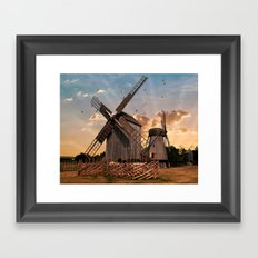 Traditonal dutch windmills at sunrise Framed Art Print
