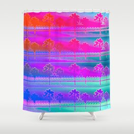 Tropical Beach Pattern (purple and turquoise) Shower Curtain