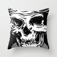 kindle Throw Pillows featuring 102 by ALLSKULL.NET
