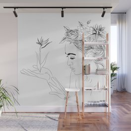 Minimal Drawing of Woman with Flowers in Hair - Black and White Wall Mural