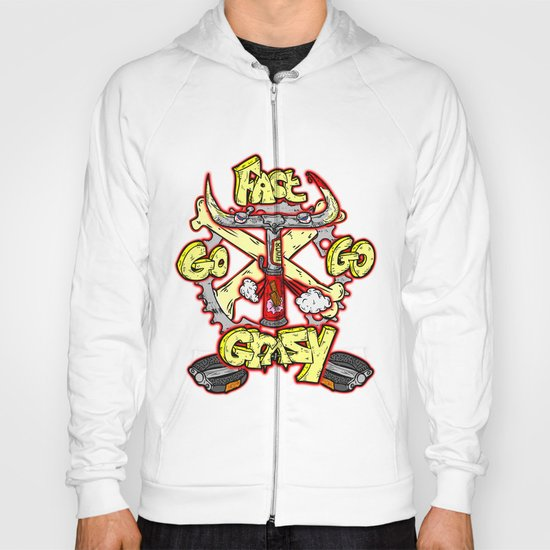go fast go GRAZY ( vintage folding bicycle tribute - bull angry sketch handdrawn italian logo )  Hoody