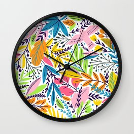 Tropical Sultry Morning Floral and Bird Pattern Wall Clock