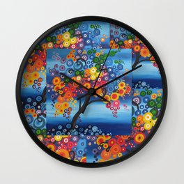 rainbow tree painting tree of life bright red blue yellow green colors colorful colourful Wall Clock
