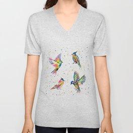 Four Colorful Birds Unisex V-Neck