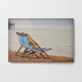 Seaside Deck Chairs Metal Print