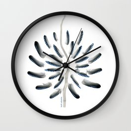feather mandala... jay feathers, drift wood Wall Clock