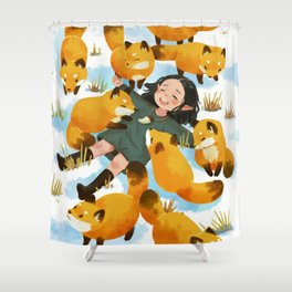 Snuggles with foxes Shower Curtain