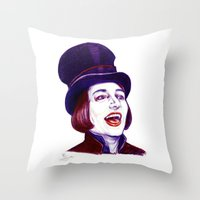 willy wonka Throw Pillows featuring Wonka by Indigo East by ieIndigoEast