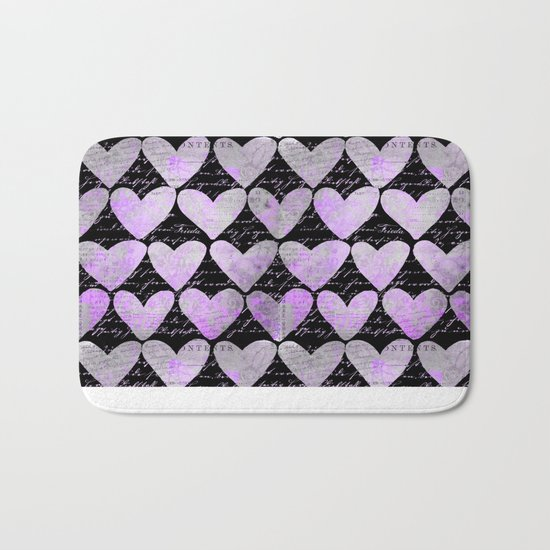 pink heart typography pattern Bath Mat