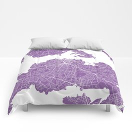Auckland map lilac Comforters