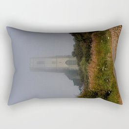 Ghostly Happisburgh church in a sea fret Rectangular Pillow