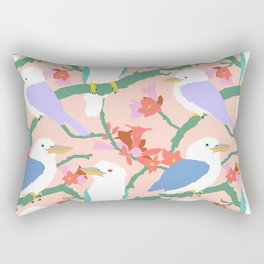 Kookaburra Birds + Little Kurrajong Flowers Rectangular Pillow