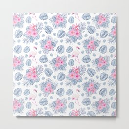 Tropical pink blue watercolor flamingo floral Metal Print