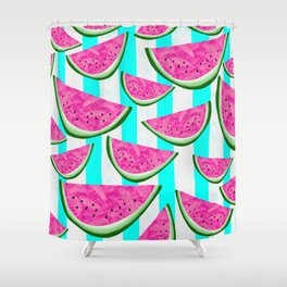 Watermelon Crush on Aqua and White Stripes Shower Curtain