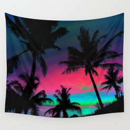 Deep Pink Palm Tree Sunset Wall Tapestry