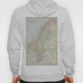 Vintage Map of Norway and Sweden (1901) Hoody