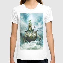 Steampunk women fly with a mechanical owl T-shirt