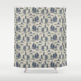 Alien Abduction Toile De Jouy Pattern in Blue Shower Curtain