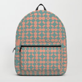 Tuscan Tile Pattern Modern Geometric Turquoise and Peach Backpack