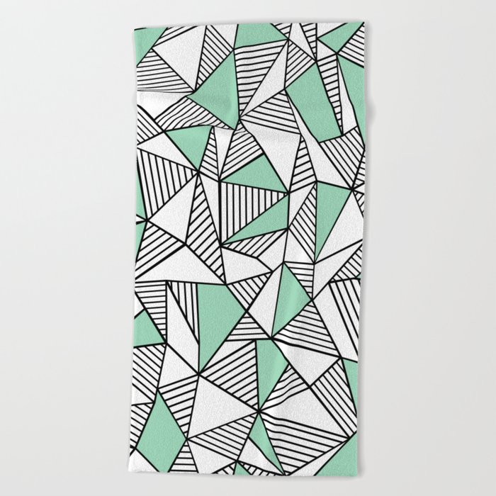 Abstraction Lines with Mint Blocks Beach Towel