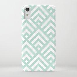 Turquoise Blue geometric art deco diamond pattern iPhone Case