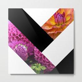 Black White & Floral Diagonals Abstract Metal Print