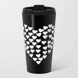 Hearts on Heart White on Black Metal Travel Mug