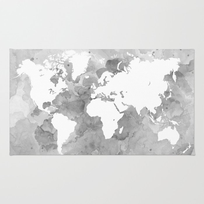 Design 49 grayscale world map rug by artbylucie society6 design 49 grayscale world map rug gumiabroncs Choice Image