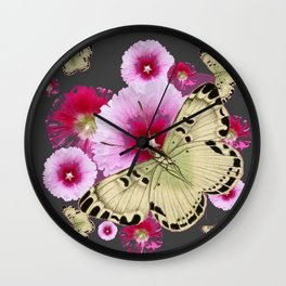 BUTTERFLIES PINK HOLLYHOCKS   CHARCOAL GREY COLOR  FLORAL Wall Clock