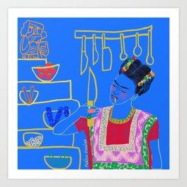 FRIDA KAHLO AND HER KNIFE Art Print