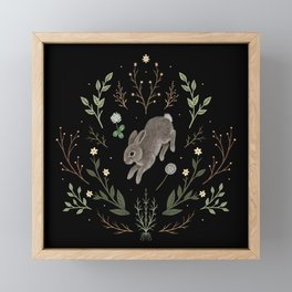 Hoppy Botanical Bunny Framed Mini Art Print