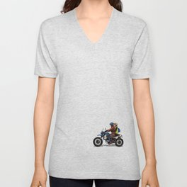 Girl with man on a bike Unisex V-Neck