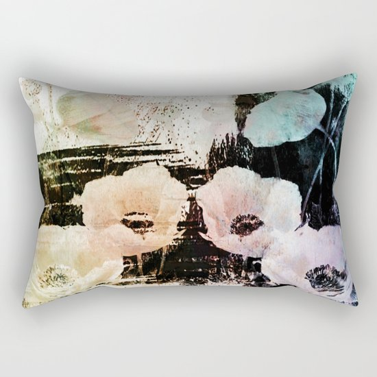 poppies on abstract background Rectangular Pillow