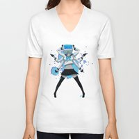 vocaloid V-neck T-shirts featuring What the hell's going on?! by Helixel