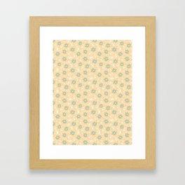 Fresh Minty Flowers Yellow Cream And Green Design Framed Art Print