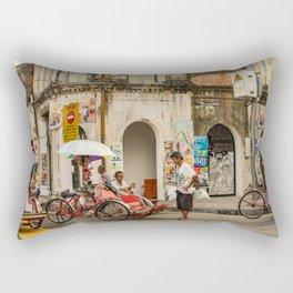 George Town, Penang Trishaw Break Rectangular Pillow