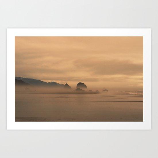 Foggy beach... Art Print