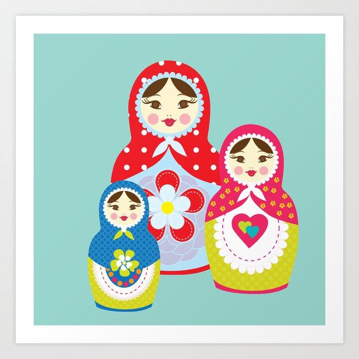 Turquoise babushka , matryoshka , russian doll , nursery decor , children gift, birthday gift Kunstdrucke