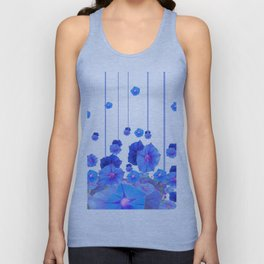 BABY BLUE MORNING GLORIES RAIN ABSTRACT ART Unisex Tank Top