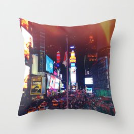 Times Square Lights Throw Pillow