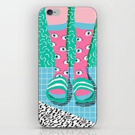 Chillax - memphis throwback style retro classic 1980s 80s grid pattern socks fashion apparel iPhone Skin